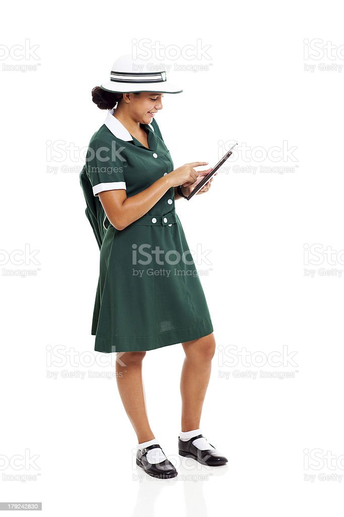 high school learner using tablet computer royalty-free stock photo