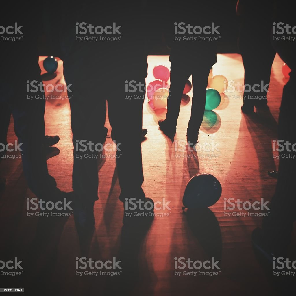 High School Prom Dance Concert Standing People, Balloons stock photo