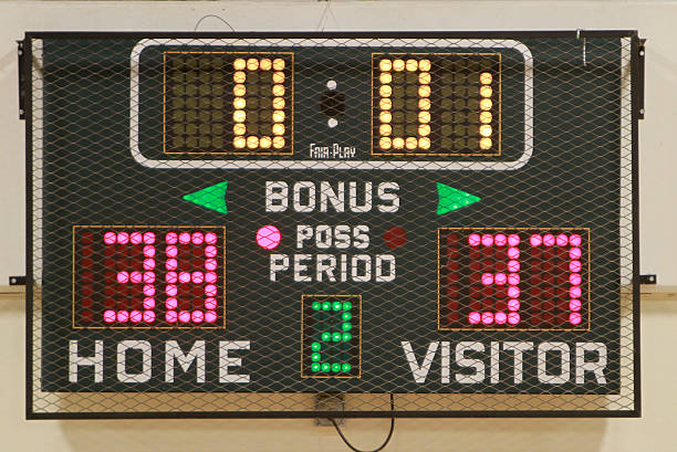 high school scoreboard showing time, score and period - scoring stock photos and pictures