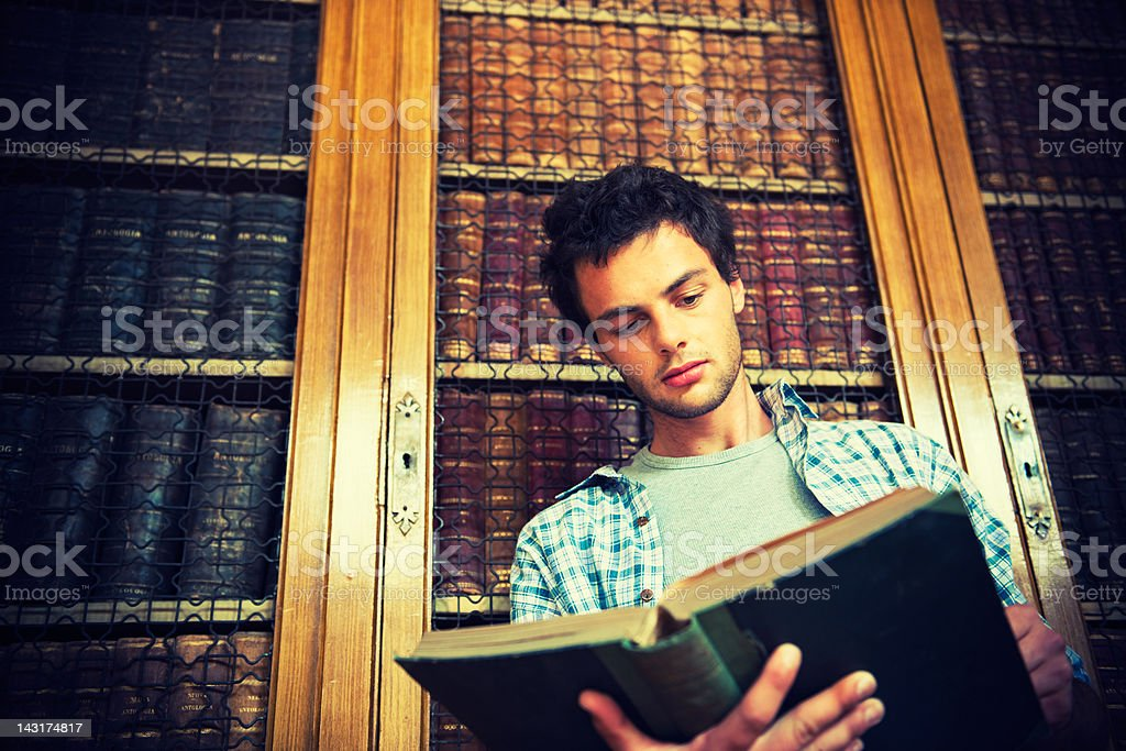 High School student doing a research in library royalty-free stock photo