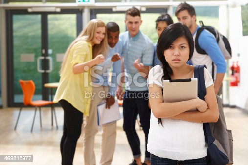 Female Student Being Bullied By Classmates During Break Time