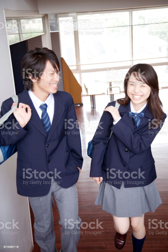 High school students need to climb stairs royalty-free stock photo