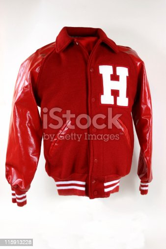 High School letterman jacket in red with the letter