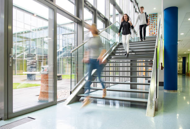 High school students walking on stairs