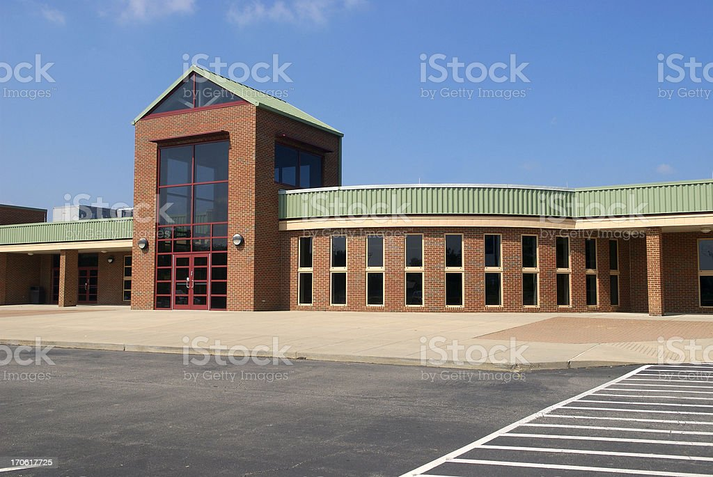 High School with Blue Sky and Modern Architecture stock photo