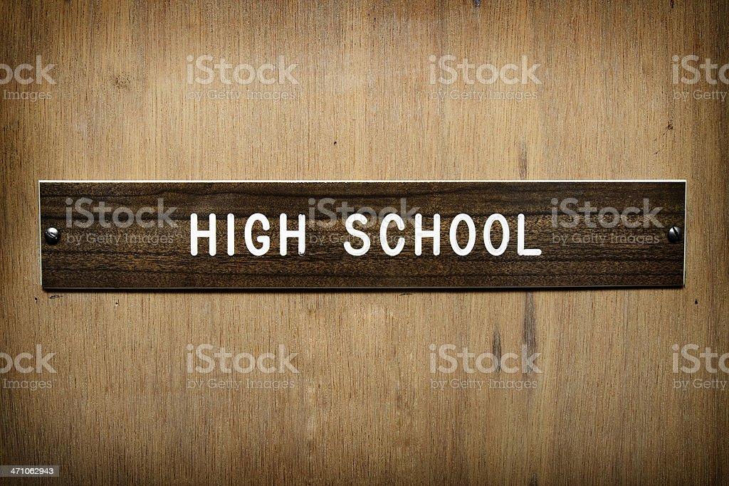 High School Wooden Office Door Sign royalty-free stock photo