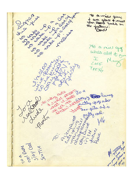 high school year book notes (grunge) - page stock photos and pictures