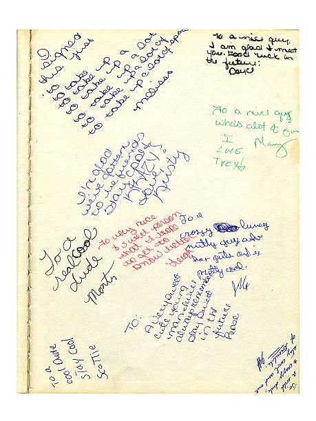 l'année scolaire réserver des notes (grunge - page photos et images de collection