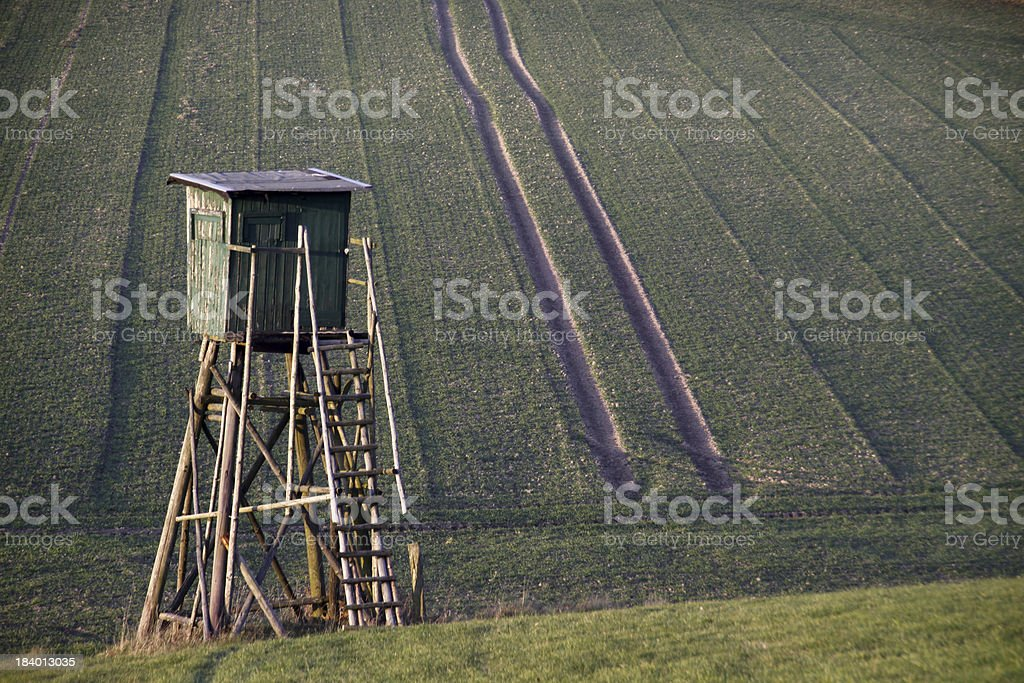 High seat at a field edge stock photo