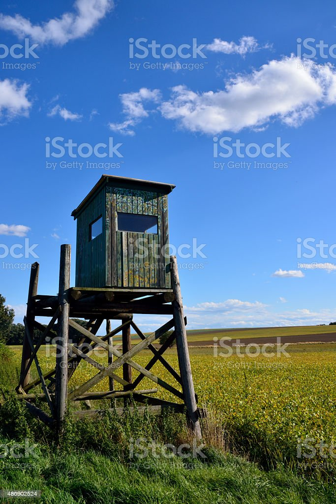High seat for hunting on austrian fields stock photo