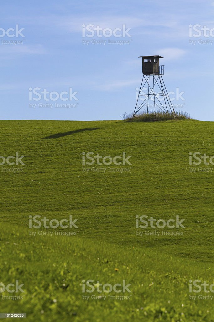 High seat on a meadow stock photo