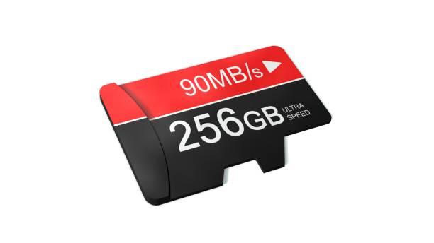 High-Speed 256GB Micro SD Speicherkarte isoliert auf weiss – Foto