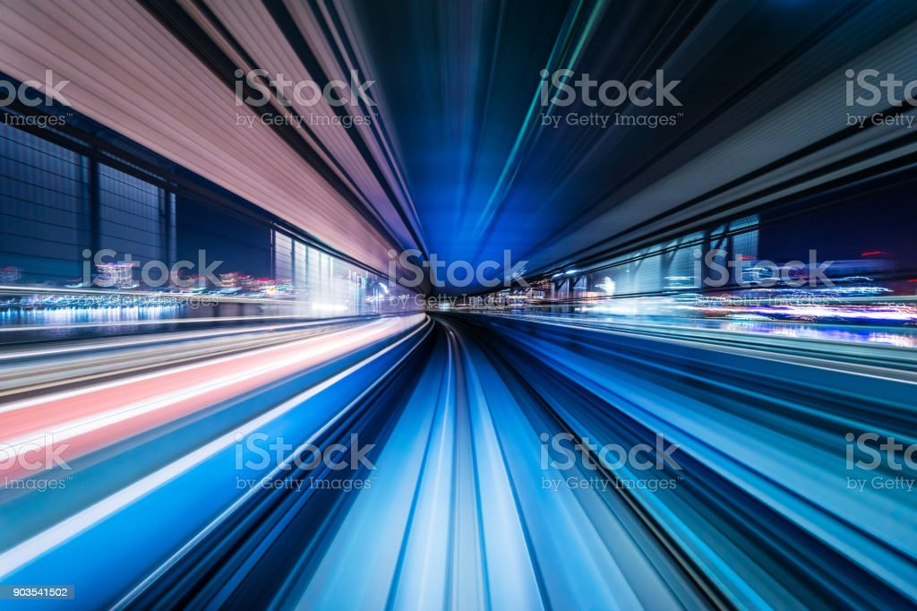 high speed abstract MRT track of motion light for background stock photo