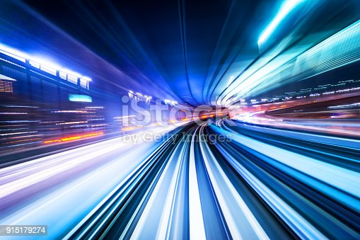 istock high speed abstract MRT track of motion light for background 915179274