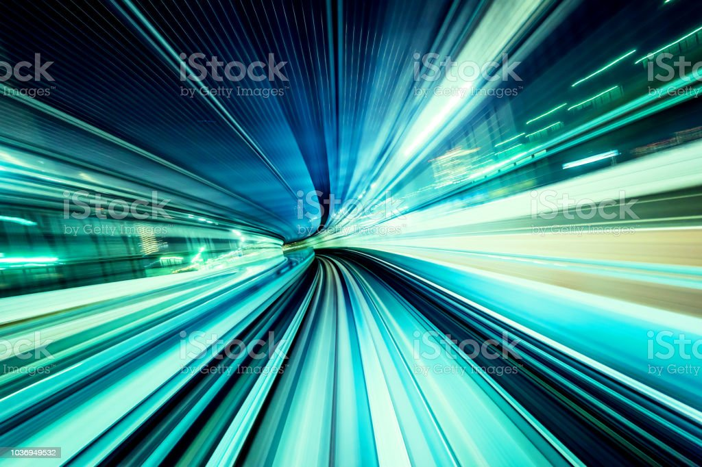 high speed abstract MRT track of motion light for design background - Royalty-free A caminho Foto de stock