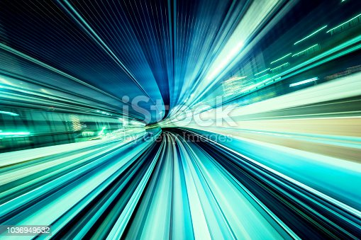 istock high speed abstract MRT track of motion light for design background 1036949532