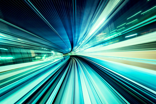 high speed abstract MRT track of motion light for design background