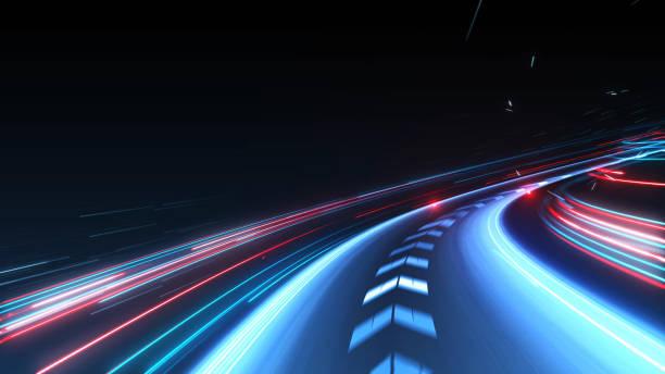 pista abstracta de alta velocidad de la luz de movimiento para el fondo - futurista fotografías e imágenes de stock