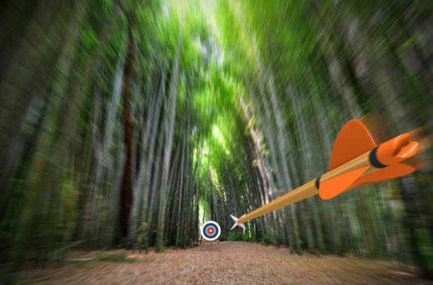 High speed arrow flying through blurred bamboo forest with archery target in focus, part photo, part 3D rendering stock photo