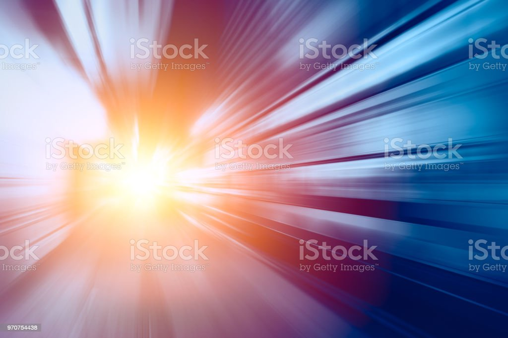 High speed business tech solution Acceleration super fast speedy motion blur of train station abstract for background design stock photo