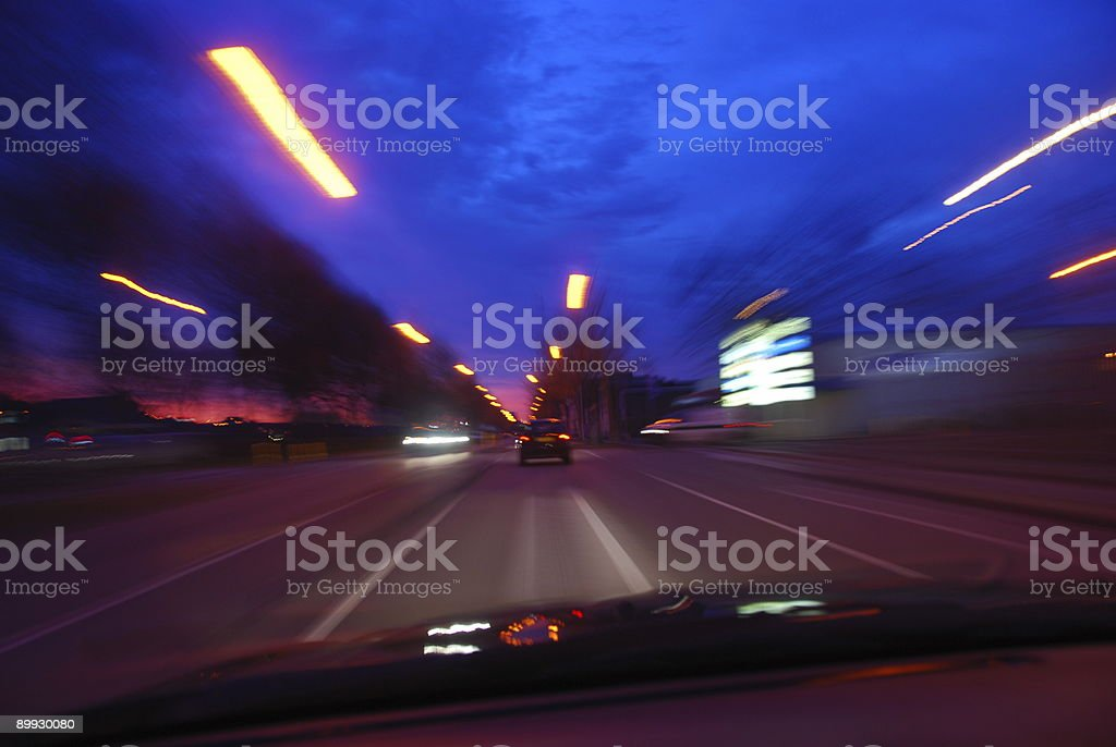 High speed driving at dawn royalty-free stock photo