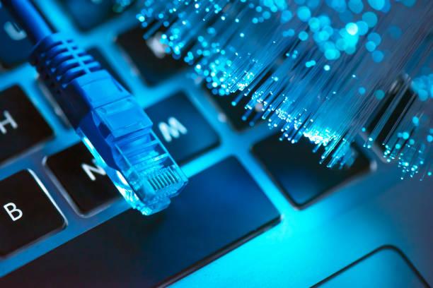 High speed fiber optic internet concept stock photo