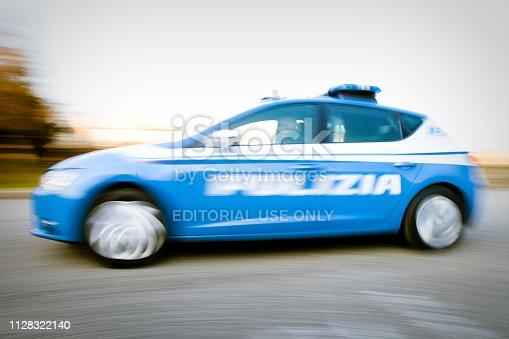 Padua, Italy - November 18, 2018 Italian Police in Padua high speed security activity. Italian Police has Seat Leon  Tdi as car for public aid and security activity. Day shot near