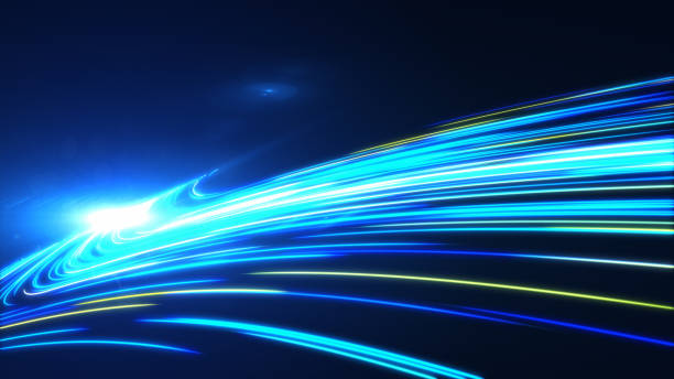 high-speed leuchtet tunnel bewegung wanderwege - weltraumaktivitäten stock-fotos und bilder