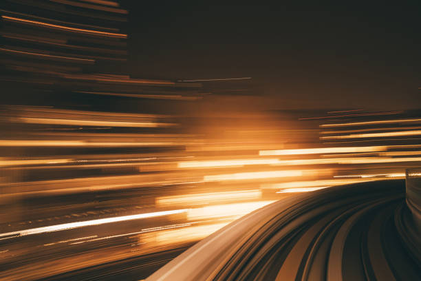 High Speed Motion Blur driving through a tunnel at night