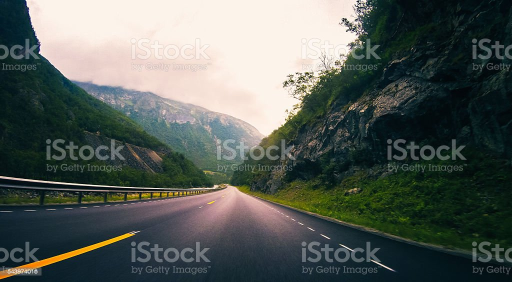 High Speed Mountain Motorways of Norway stock photo