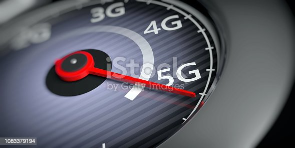 istock 5G High speed network connection. Reaching 5g, speedometer closeup view. 3d illustration 1083379194