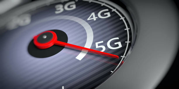 5G High speed network connection. Reaching 5g, speedometer closeup view. 3d illustration 5G High speed network internet connection. Reaching 5g, speedometer indicator, internet speed test, closeup view. 3d illustration slow motion stock pictures, royalty-free photos & images