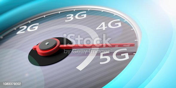 istock 5G High speed network connection. Reaching 5g, speedometer closeup view. 3d illustration 1083379202