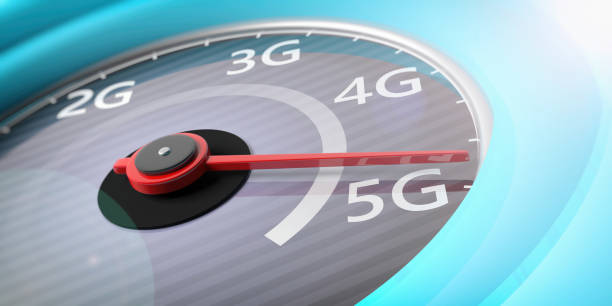 5g high speed network connection. reaching 5g, speedometer closeup view. 3d illustration - 4g foto e immagini stock