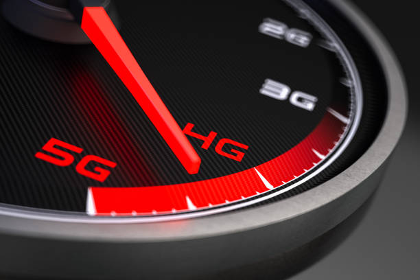 5g high speed network connection speedometer - 4g foto e immagini stock