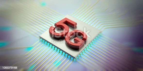 istock 5G High speed network connection wifi against against electronic circuit background. 3d illustration 1083379168