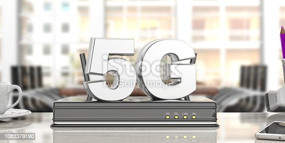 istock 5G High speed network connection wifi router, blur business office background. 3d illustration 1083379190