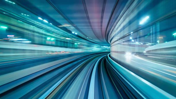 High Speed Train Abstract Panorama Tokyo Japan stock photo