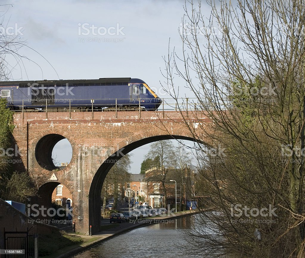 High Speed Train & Canal, Worcester stock photo