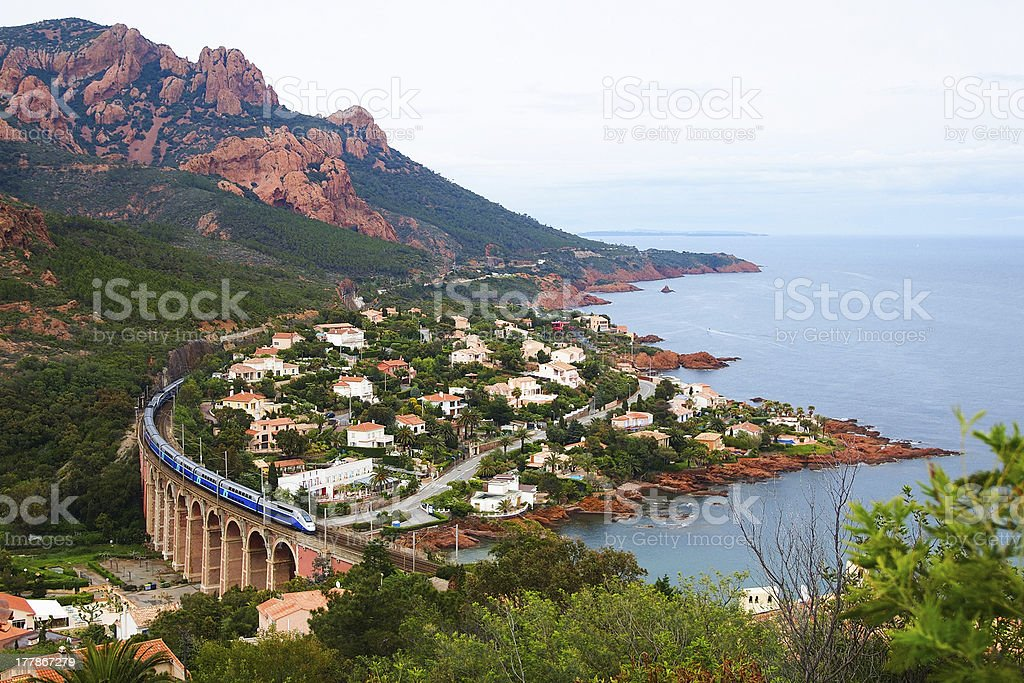 High speed train and Mediterranean Sea stock photo