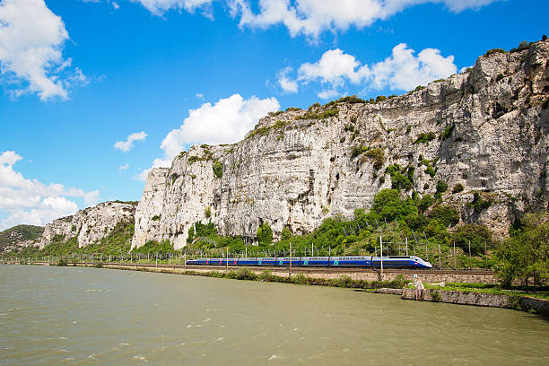 High speed train and valley stock photo