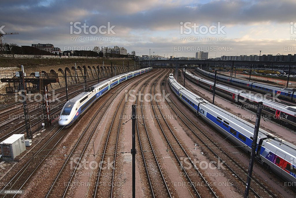 High speed train depot stock photo