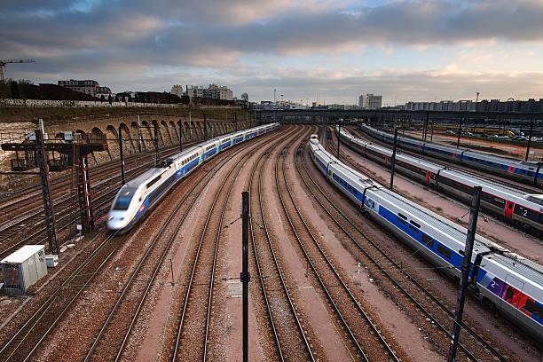 High speed train depot stock photo