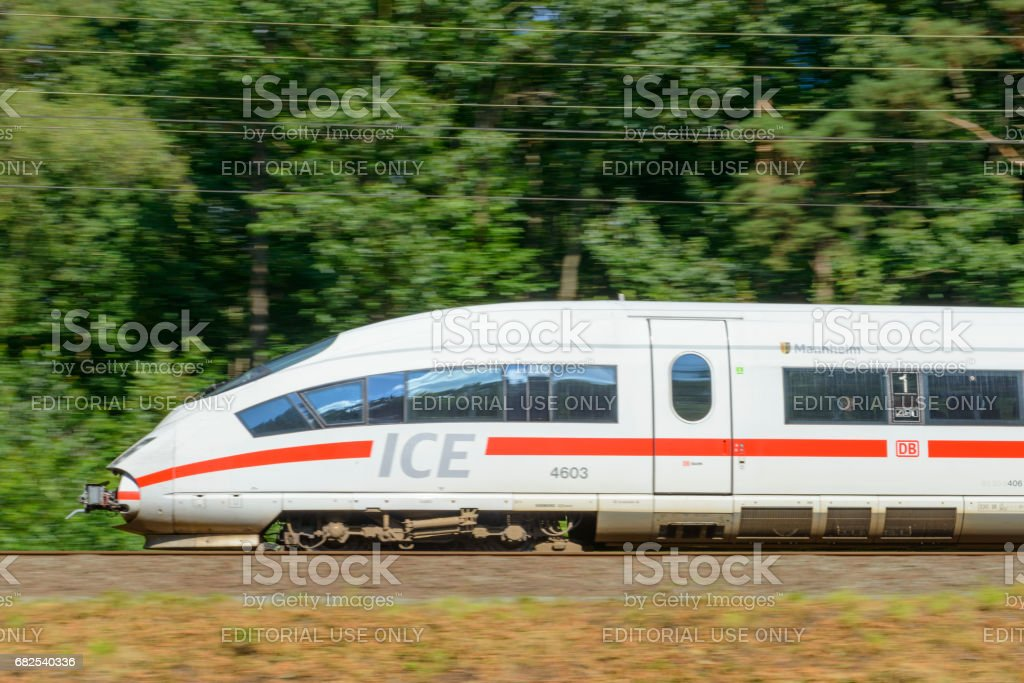 ICE High Speed Train driving fast stock photo
