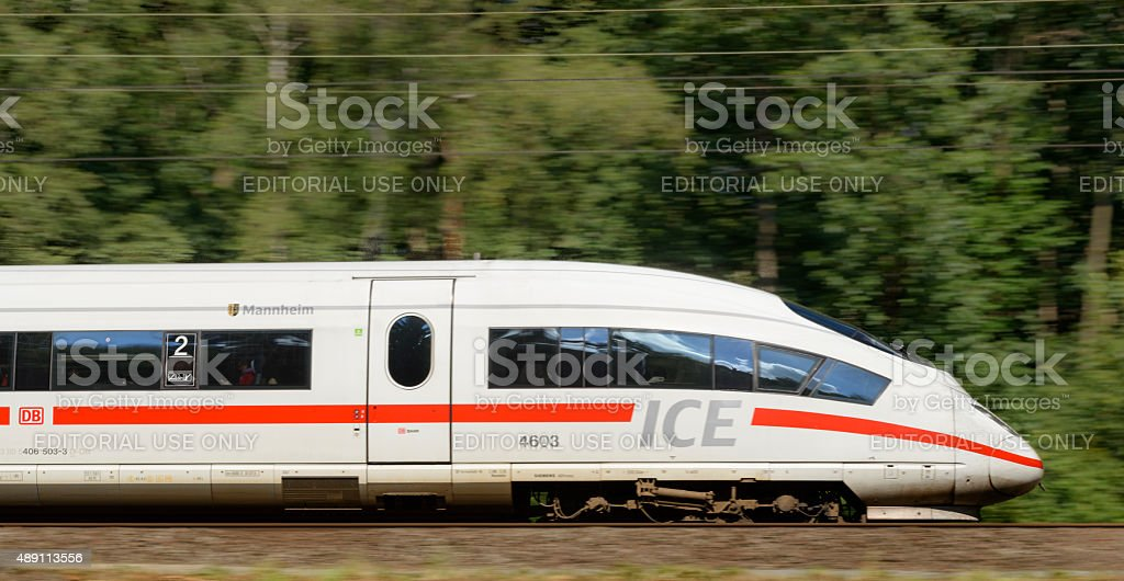 ICE High Speed Train driving in nature stock photo