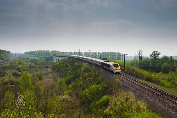 High speed train Eurostar between forest stock photo
