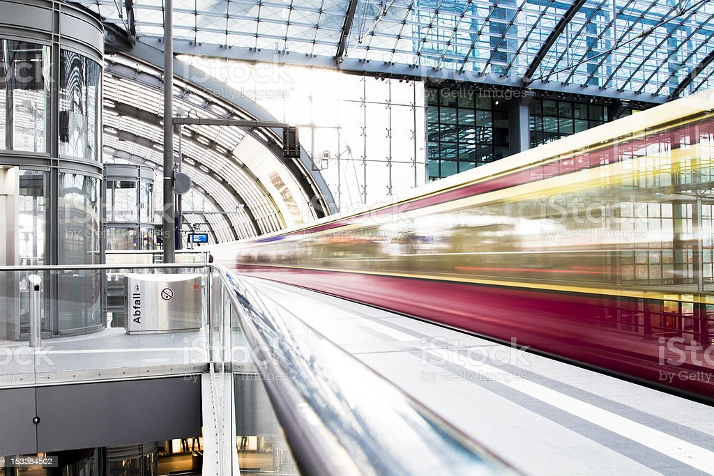 A high speed train in blurred motion stock photo