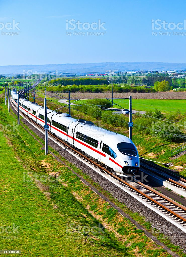 high speed train in open area stock photo