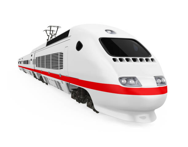 High Speed Train Isolated High Speed Train isolated on white background. 3D render bullet train stock pictures, royalty-free photos & images