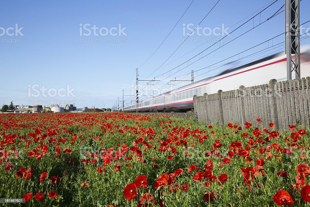 High speed train on railroad with Motion blur effect stock photo